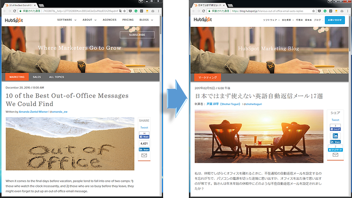 HubSpot article in English and customized into Japanese