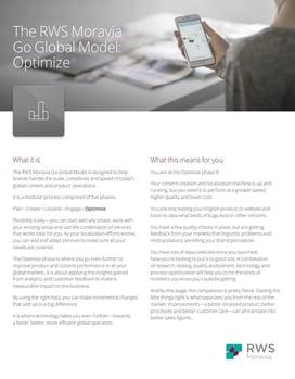 The RWS Moravia Go Global Model: Optimize Ebook